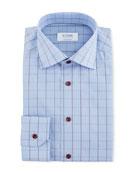 Eton Men's Windowpane Contemporary-Fit Dress Shirt