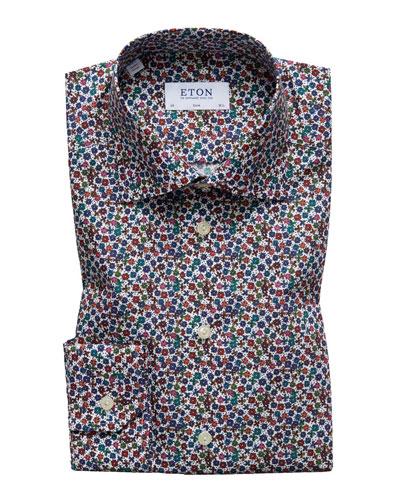 Men's Slim Fit Floral Print Dress Shirt