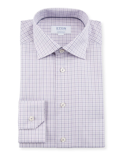 Men's Plaid Contemporary-Fit Dress Shirt