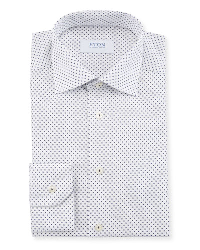 Men's Neat-Print Slim-Fit Dress Shirt