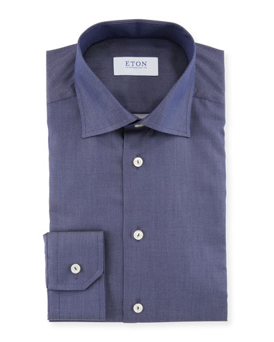 Men's Pique Slim-Fit Dress Shirt