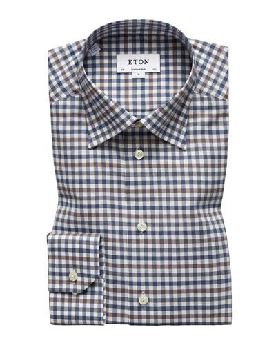 Men's Contemporary Fit Flanella Check Dress Shirt