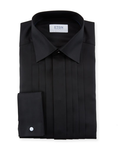 Men's Slim-Fit Pleated-Bib Formal Dress Shirt