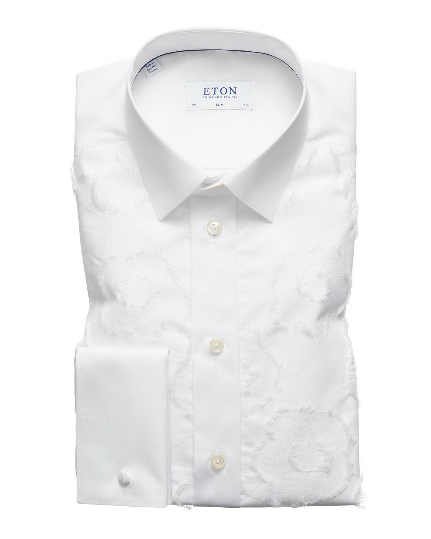 Men's Slim-Fit Floral-Pattern Dress Shirt