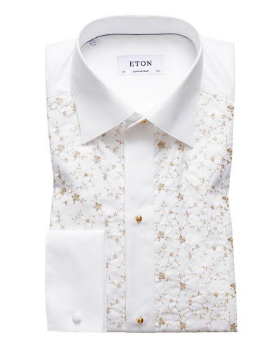 Men's Contemporary Fit Floral-Detail Formal Dress Shirt