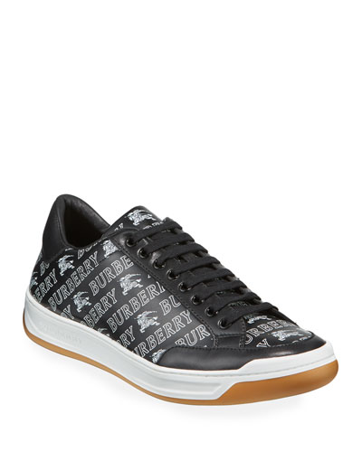 Men's Logo-Print Leather Low-Top Sneakers