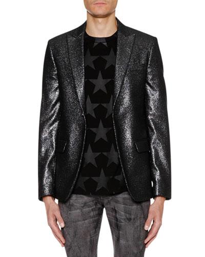 Men's One-Button Metallic Jacket