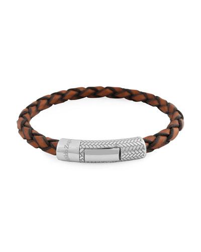 Men's Ermenegildo Zegna Braided Leather Silver Bracelet, Light Brown