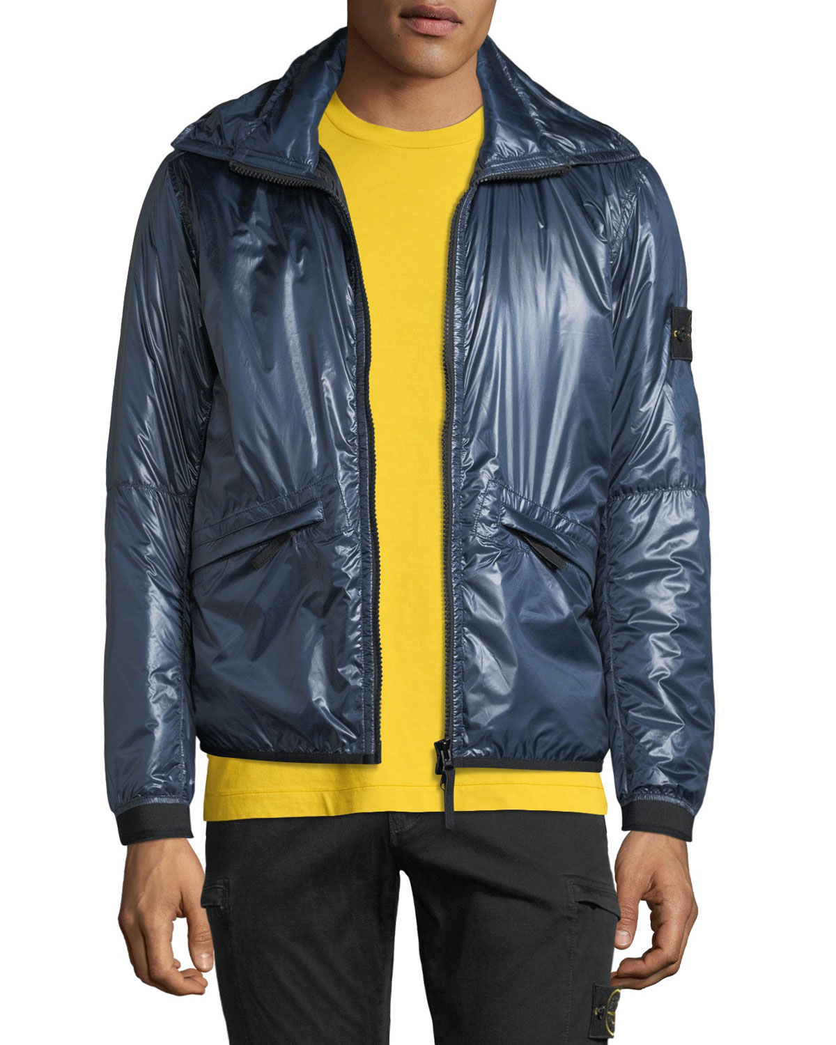 Men's Metallic Zip-Front Puffer Jacket