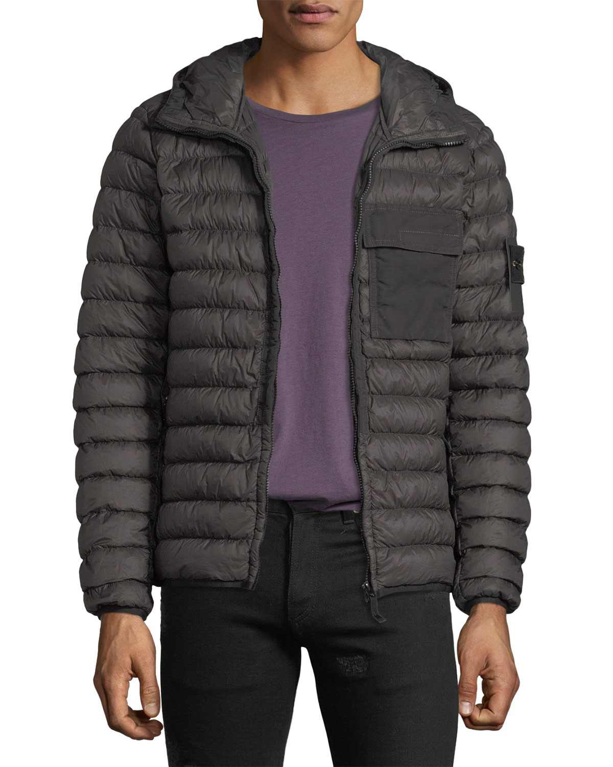 1cc01f8611d06 Stone Island Men'S Quilted Lightweight Down Jacket In Charcoal ...