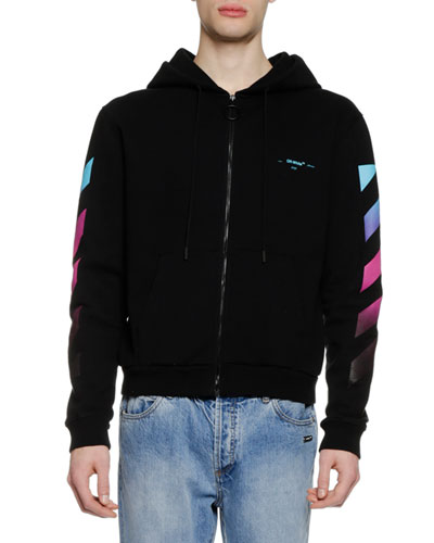 Men's Diagonal Gradient Zip-Front Hoodie Sweatshirt