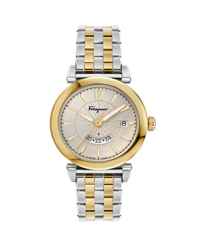 Men's Feroni Two-Tone Bracelet Watch, Silver/Gold IP
