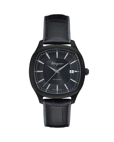 Men's Automatic Octagonal Leather Watch, Black