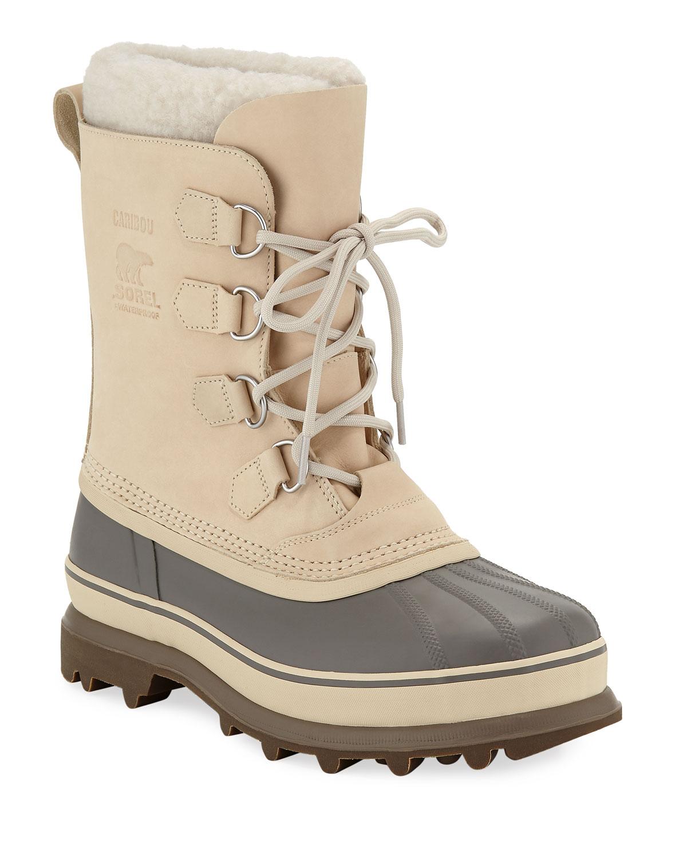 Men'S Caribou Sherpa-Lined All Weather Waterproof Duck Boots, Beige
