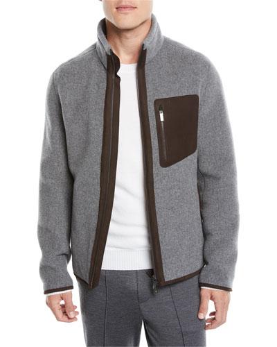 Men's Felted Wool/Cashmere Zip-Front Sweatshirt Jacket