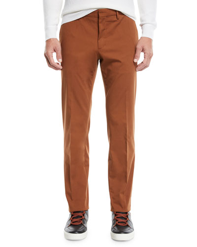 Men's Casual Solid Chino Straight-Leg Pants