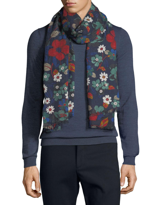 19 ANDREA'S 47 Men'S Millefiori Floral-Print Cashmere Scarf in Multi Pattern