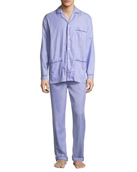 Neiman Marcus Men's Two-Piece Contrast-Piped Pajama Set