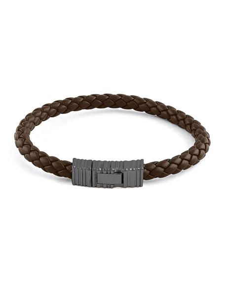 Ermenegildo Zegna Men's Braided Leather & Rhodium-Plated Bracelet, Brown