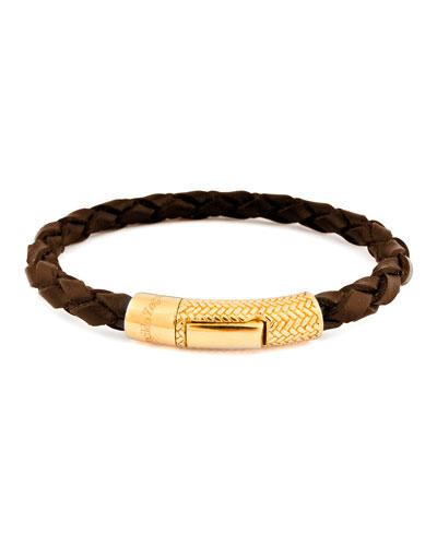 Men's Braided Leather Golden Bracelet, Brown