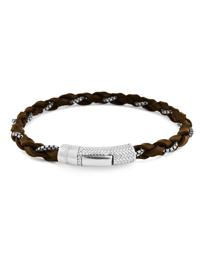Men's Leather & Chain Braided Bracelet, Brown