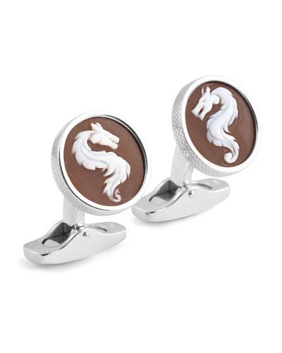 Cameo Dragon Cuff Links w/ Seashell