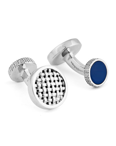 Round Woven Cuff Links w/ Lapis