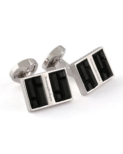 Rectangular Cuff Links w/ Crystal Baguettes, Black