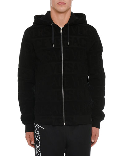 Men's Zip-Front Logo-Embossed Hoodie Sweatshirt