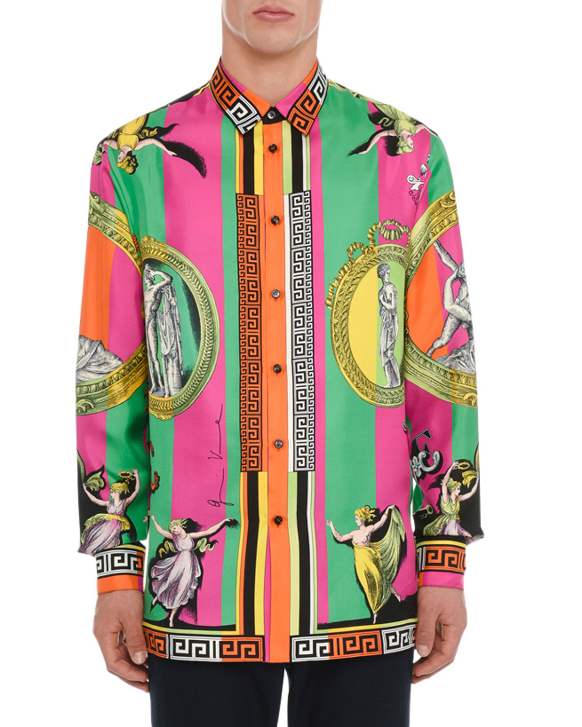 Men's Stampata Graphic Silk Sport Shirt