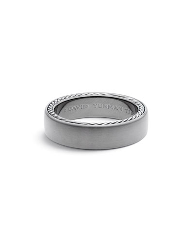 Men's Streamline Titanium & Silver Band Ring