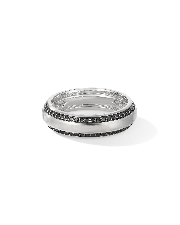 Men's Beveled 18k White Gold Ring w/ Black Diamonds