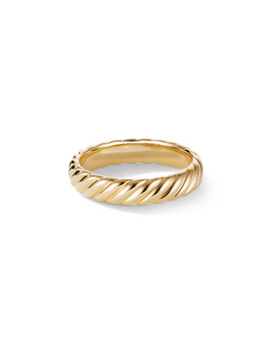 Men's 18k Gold Cable Band Ring, 5mm
