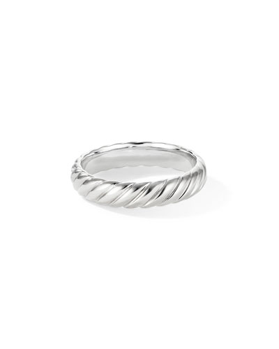 Men's 18k White Gold Cable Band Ring, 5mm
