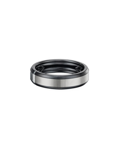 Men's 6mm Beveled Band Ring in Black & Gray Titanium