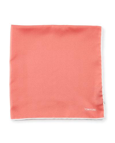 Contrast-Trim Solid Silk Pocket Square