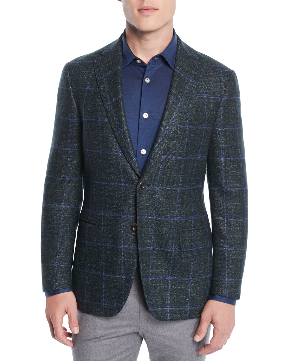 OXXFORD Men'S Windowpane Two-Button Jacket in Green