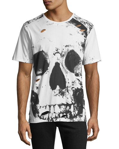 Men's Big Skull Graphic T-Shirt with Holes