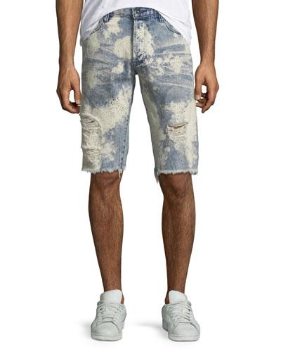 Men's Bleach Splatter Speckled Denim Shorts