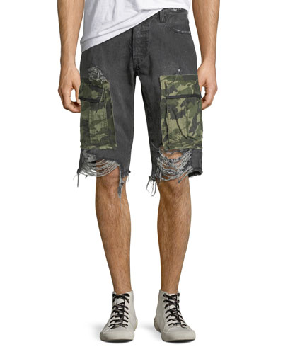 Men's Destroyed Denim Camo-Pocket Cargo Shorts