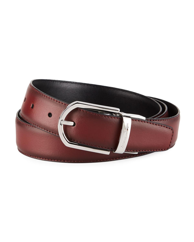 Men's Reversible Burnished Leather Belt, Black/Red