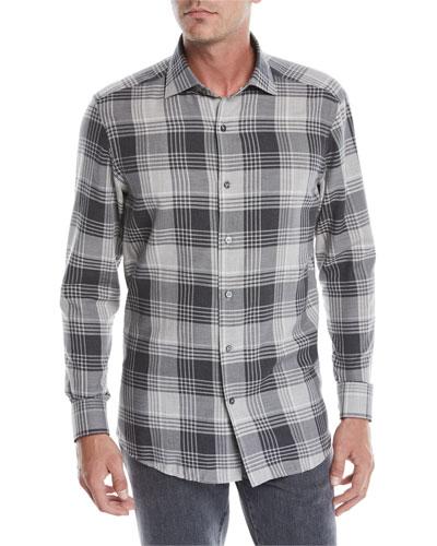 Men's Woven Plaid Sport Shirt