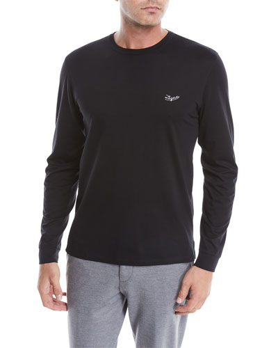Men's Long-Sleeve Logo-Embroidered T-Shirt
