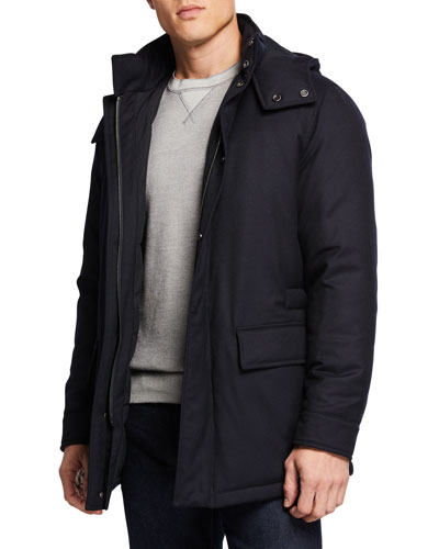Men's Wool Flannel Jacket with Removable Hood