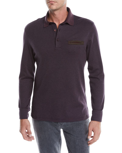 Men's Long-Sleeve Polo with Leather Detail