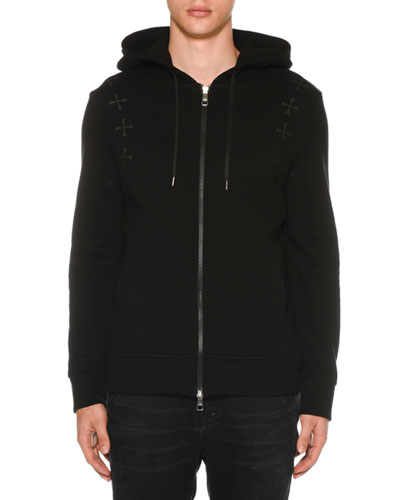 Men's Military Star Zip-Front Hoodie Sweatshirt