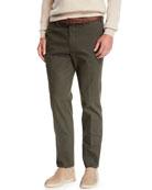 Loro Piana Men's Straight-Leg Stretch-Cotton Pants