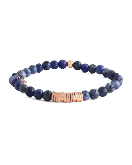 Tateossian Men's Sodalite & Disc Bracelet, Rose Golden