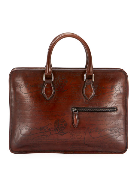 Berluti Men's Un Jour Mini Scritto Leather Briefcase