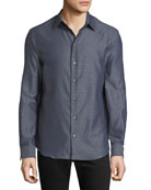 Emporio Armani Men's Long-Sleeve Button-Front Melange Twill Woven